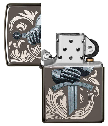 Knights Glove Design Black Ice Windproof Lighter with its lid open and not lit