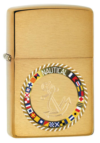 Nautical Flags Design Brushed Brass Windproof Lighter facing forward at a 3/4 angle
