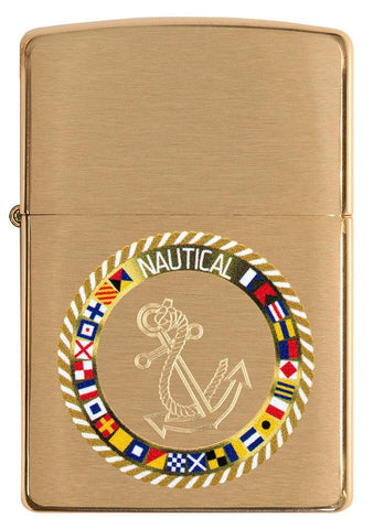 Front of Nautical Flags Design Brushed Brass Windproof Lighter