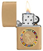 Nautical Flags Design Brushed Brass Windproof Lighter with its lid open and lit