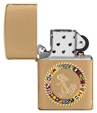 Nautical Flags Design Brushed Brass Windproof Lighter with its lid open and not lit