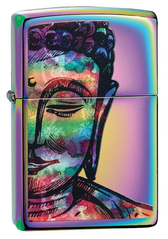 Bright Buddha Design Multi Color Windproof Lighter facing forward at a 3/4 angle