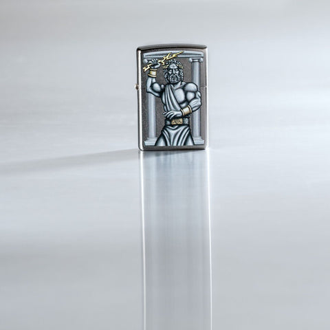 Lifestyle image of Zeus Design Street Chrome Windproof Lighter standing on a reflective surface