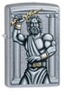 Zeus Design Street Chrome Windproof Lighter facing forward at a 3/4 angle