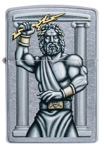 Front of Zeus Design Street Chrome Windproof Lighter