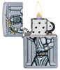 Zeus Design Street Chrome Windproof Lighter with its lid open and lit