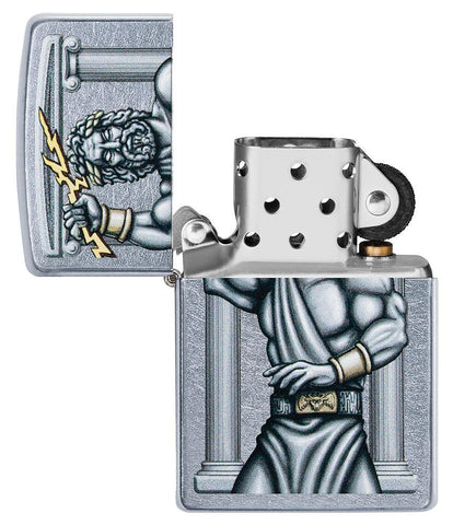 Zeus Design Street Chrome Windproof Lighter with its lid open and not lit