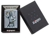 Zeus Design Street Chrome Windproof Lighter in packaging