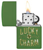Lucky Charm Green Matte Windproof Lighter with its lid open and lit