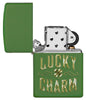 Lucky Charm Green Matte Windproof Lighter with its lid open and not lit