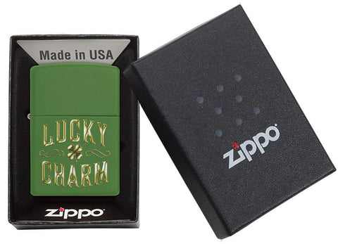 Lucky Charm Green Matte Windproof Lighter in packaging