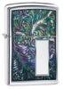 Colorful Venetian Design High Polish Chrome Windproof Lighter facing forward at a 3/4 angle