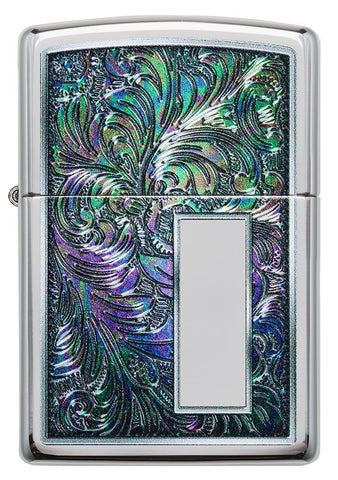 Front of Colorful Venetian Design High Polish Chrome Windproof Lighter