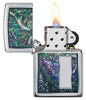 Colorful Venetian Design High Polish Chrome Windproof Lighter with its lid open and lit