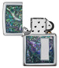 Colorful Venetian Design High Polish Chrome Windproof Lighter with its lid open and not lit