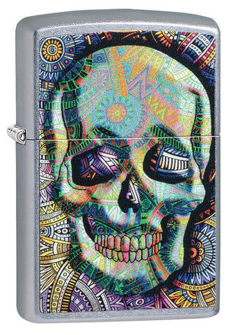 Geometric Skull Design Street Chrome Windproof Lighter facing forward at a 3/4 angle