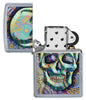 Geometric Skull Design Street Chrome Windproof Lighter with its lid open and not lit