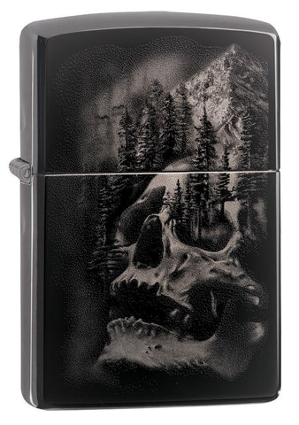 Skull Mountain Black Ice Windproof Lighter facing forward at a 3/4 angle