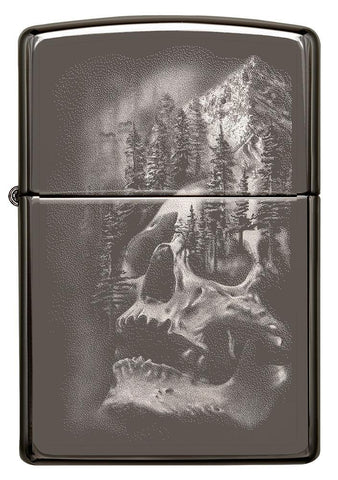 Front of Skull Mountain Black Ice Windproof Lighter