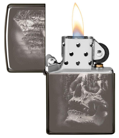 Skull Mountain Black Ice Windproof Lighter with its lid open and lit