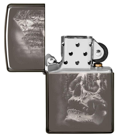 Skull Mountain Black Ice Windproof Lighter with its lid open and not lit