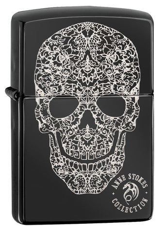Anne Stokes Fancy Skull High Polish Black windproof lighter facing forward at a 3/4 angle