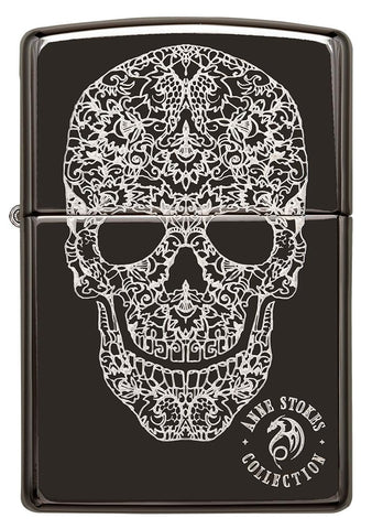 Front of Anne Stokes Fancy Skull High Polish Black windproof lighter