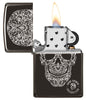 Anne Stokes Fancy Skull High Polish Black windproof lighter with its lid open and lit