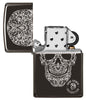 Anne Stokes Fancy Skull High Polish Black windproof lighter with its lid and not lit