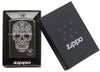 Anne Stokes Fancy Skull High Polish Black windproof lighter in packaging