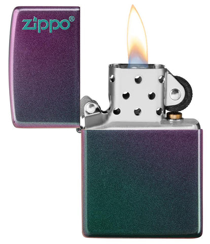 Iridescent Zippo Logo windproof lighter with the lid open and lit