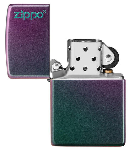 Iridescent Zippo Logo windproof lighter with the lid open and not lit