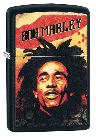 Bob Marley black matte windproof lighter- standing facing front at a 3/4 angle