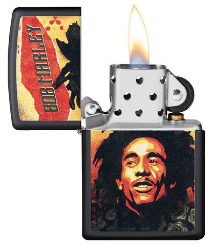 Bob Marley black matte windproof lighter with the lid open and lit