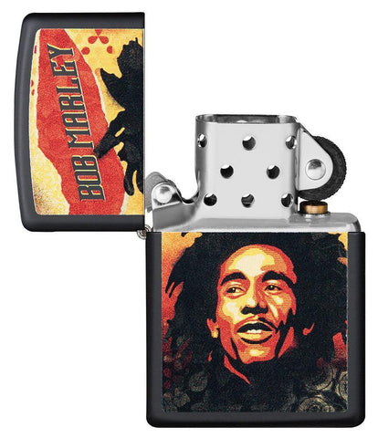 Bob Marley black matte windproof lighter with lid open and not lit