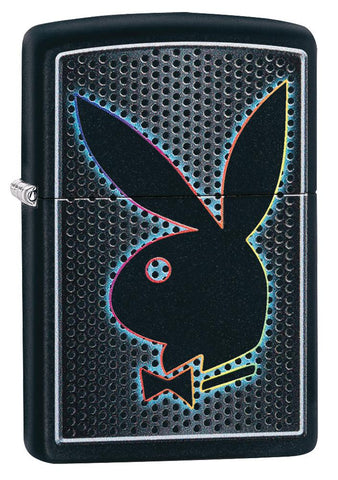 Playboy Black Matte windproof lighter facing forward at a 3/4 angle