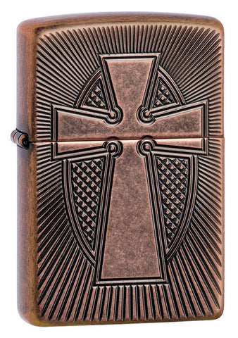 Armor Deep Carve Cross Design Antique Copper Windproof Lighter facing forward at a 3/4 angle