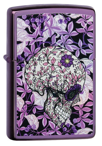 Hidden Skull High Polish Purple windproof lighter facing forward at a 3/4 angle