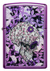 Front of Hidden Skull High Polish Purple windproof lighter