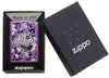 Hidden Skull High Polish Purple windproof lighter in packaging