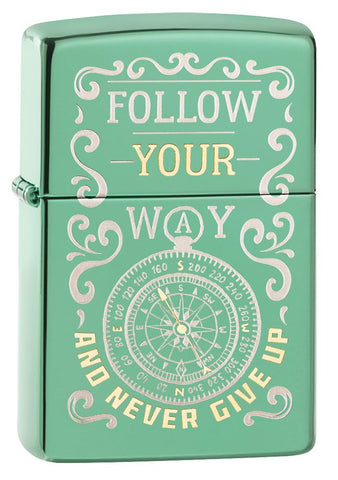 Follow Your Way High Polish Green Windproof Lighter facing forward at a 3/4 angle