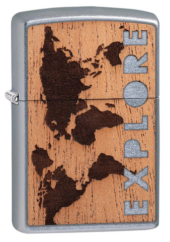 WOODCHUCK USA Explore Mahogany Emblem Street Chrome windproof lighter facing forward at a 3/4 angle