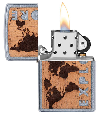 WOODCHUCK USA Explore Mahogany Emblem Street Chrome windproof lighter with its lid open and lit