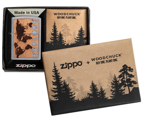WOODCHUCK USA Explore Mahogany Emblem Street Chrome windproof lighter in packaging