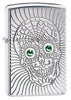 Armor Sugar Skull Design High Polish Chrome Windproof Lighter facing forward at a 3/4 angle