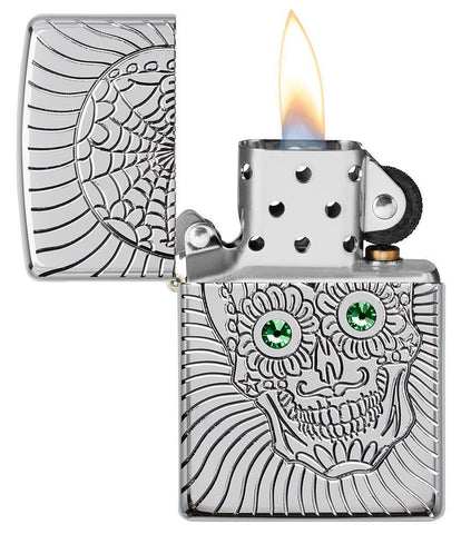 Armor Sugar Skull Design High Polish Chrome Windproof Lighter with its lid open and lit