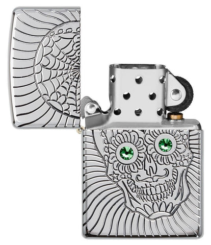 Armor Sugar Skull Design High Polish Chrome Windproof Lighter with its lid open and not lit
