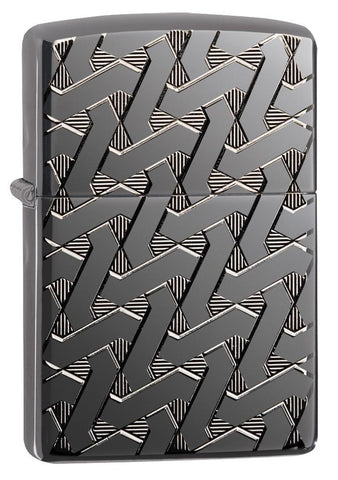 Armor Geometric Weave High Polish Black Ice Windproof Lighter facing forward at a 3/4 angle