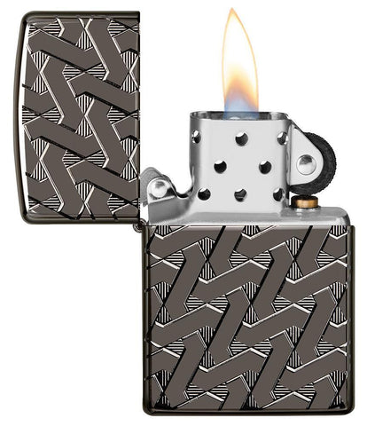 Armor Geometric Weave High Polish Black Ice Windproof Lighter with its lid open and lit