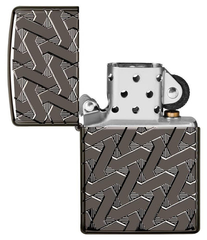 Armor Geometric Weave High Polish Black Ice Windproof Lighter with its lid open and not lit